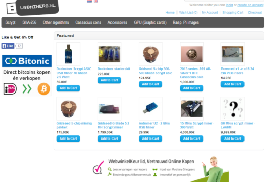 Dutch mining webshop USBMiners.nl accepts Blackcoins