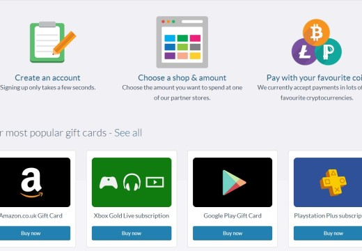 Buy giftcards for Amazon.co, Starbucks, Google with Blackcoins