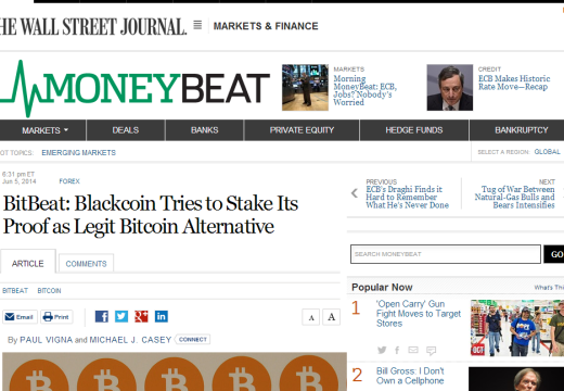 The Wallstreet Journal: Blackcoin Tries to Stake Its Proof as Legit Bitcoin Alternative